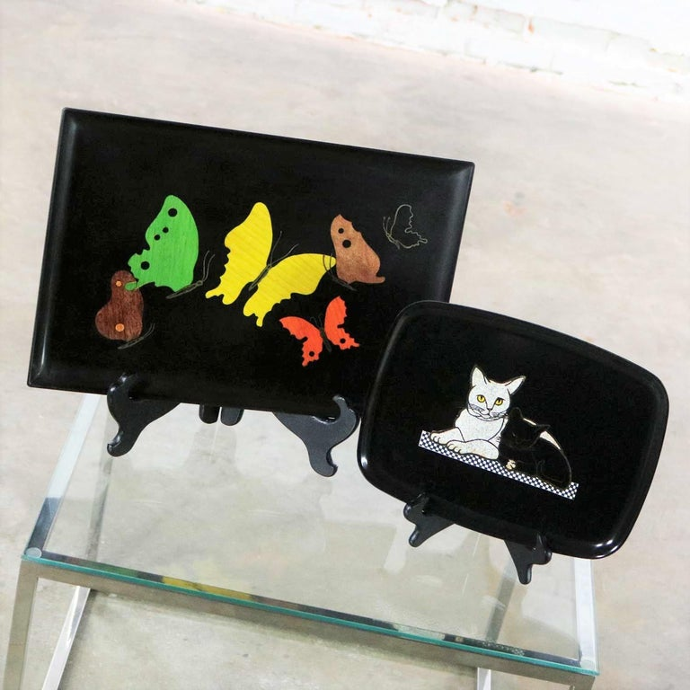 Pair of Mid-Century Modern Couroc of Monterey Black Trays Cats and Butterfly For Sale 1