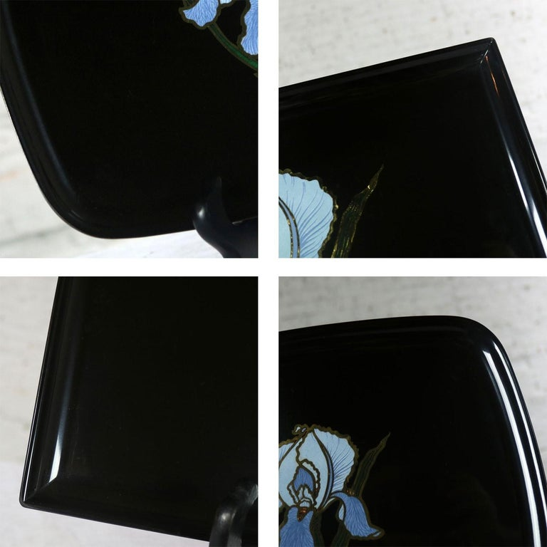 Pair of Vintage Mid-Century Modern Couroc of Monterey Black Trays with Blue Iris For Sale 6