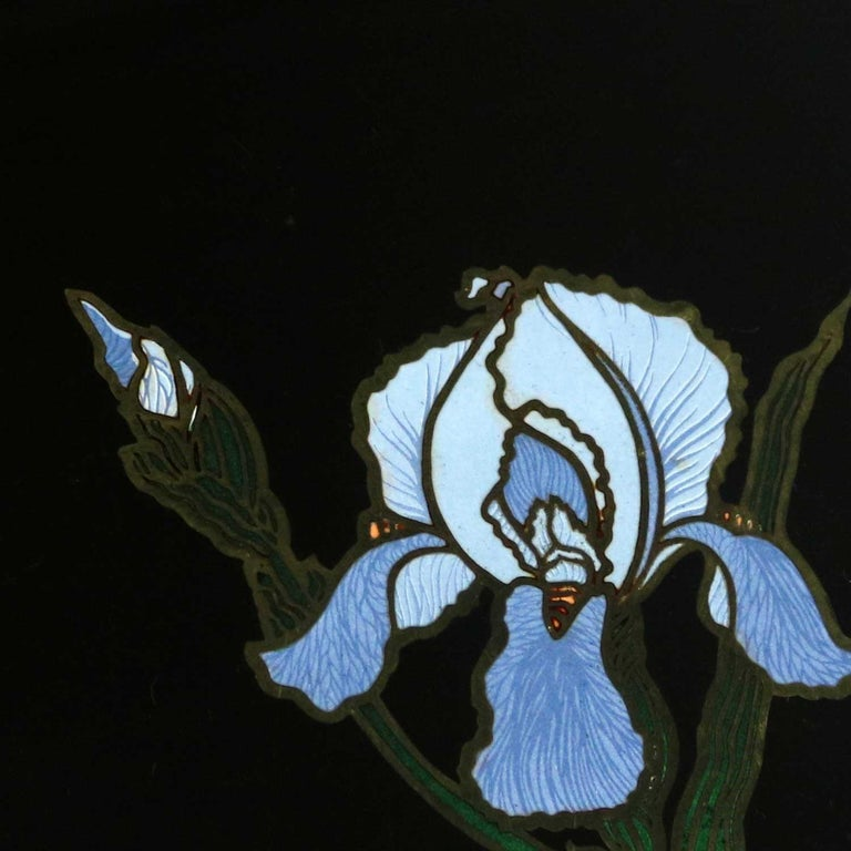 Pair of Vintage Mid-Century Modern Couroc of Monterey Black Trays with Blue Iris For Sale 9