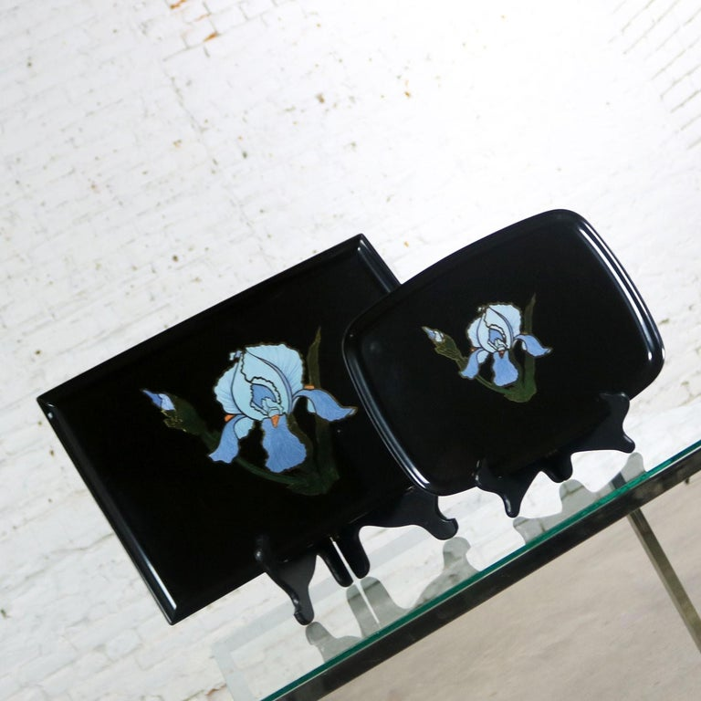 Resin Pair of Vintage Mid-Century Modern Couroc of Monterey Black Trays with Blue Iris For Sale