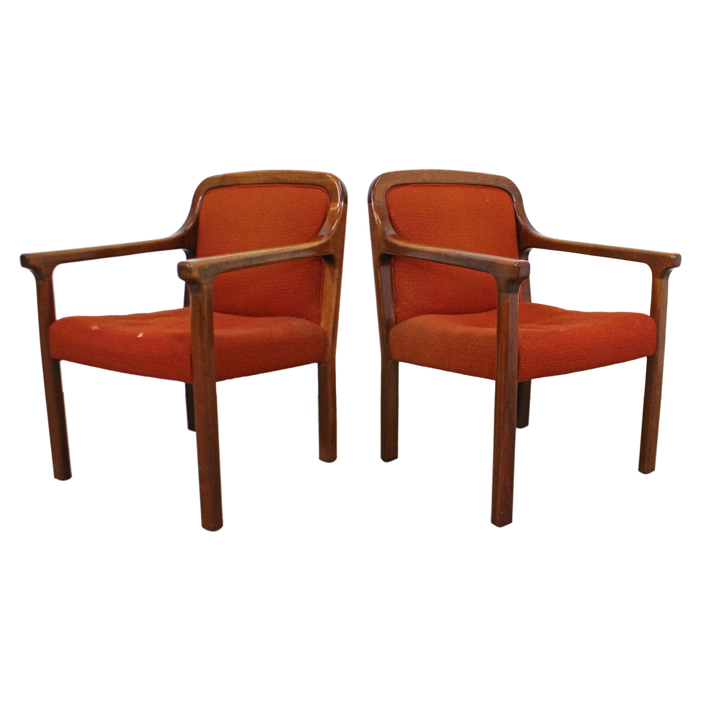 Pair of Vintage Mid-Century Modern Helikon Walnut Armchairs