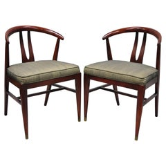 Pair of Vintage Mid-Century Modern Horseshoe Curved Back Mahogany Dining Chairs