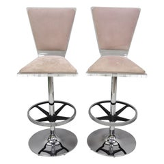 Pair of Vintage Mid-Century Modern Lucite Swivel Bar Stool Chair by Haziza