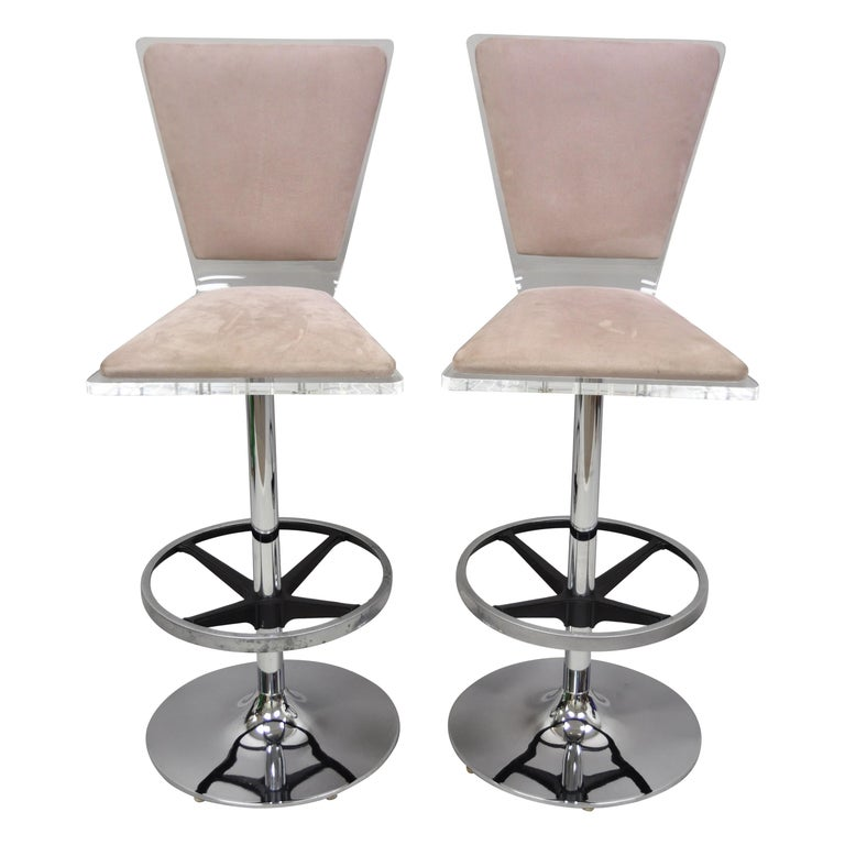 Pair Of Vintage Mid Century Modern Lucite Swivel Bar Stool Chair By Haziza For Sale At 1stdibs