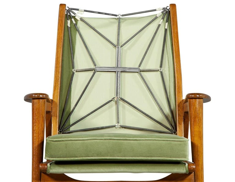 Metal Pair of Vintage Mid-Century Modern Parlor Armchairs For Sale