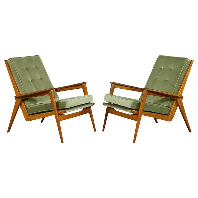 Pair of Vintage Mid-Century Modern Parlor Armchairs For Sale