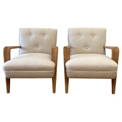 Pair of Vintage Mid-Century Modern Upholstered Chairs with White Oak Frame
