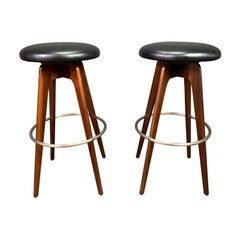 Pair of Vintage Mid-Century Modern Walnut Bar Stools by Chet Bearsdley