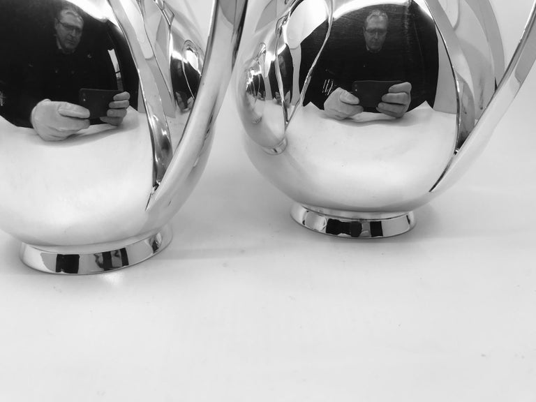 Danish Pair of Vintage Midcentury Sterling Silver Kay Fisker Pitchers by A. Michelsen For Sale