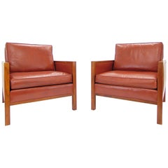 Pair of Vintage Midcentury Walnut and Leather Club Chairs