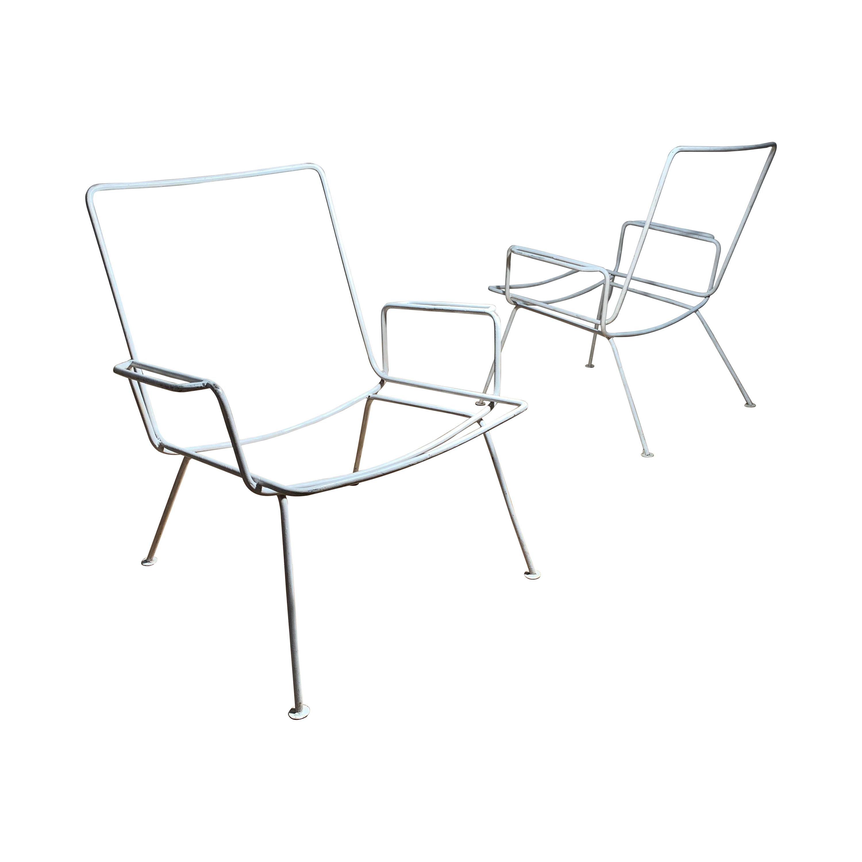 Pair of Vintage Midcentury Wrought Iron Patio Garden Chairs manner of Salterini