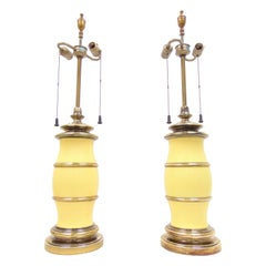 Pair of Vintage Midcentury Yellow and Brass Lamps by Stiffel
