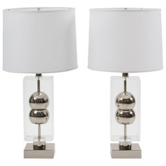 Pair of Vintage Midcentury Laurel Lighting Chrome and Lucite Lamps