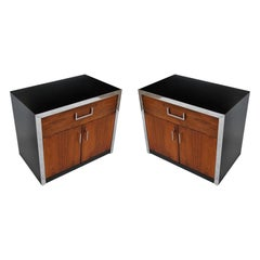 Pair of Vintage Midcentury Milo Baughman Rosewood Chrome Nightstands