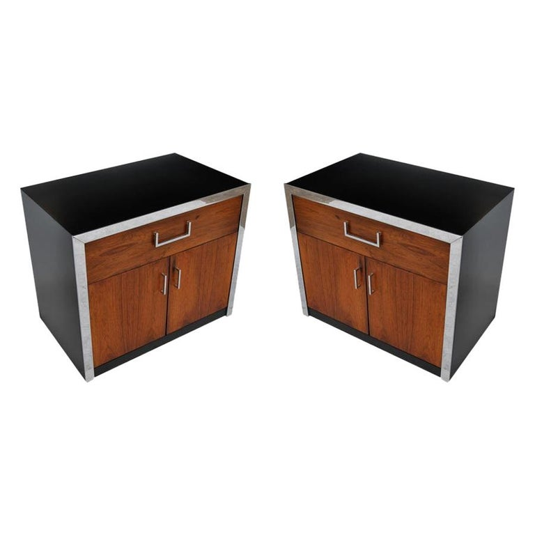 Pair of Vintage Midcentury Milo Baughman Rosewood Chrome Nightstands For Sale