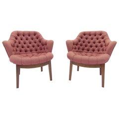 Pair of Vintage Midcentury Tufted Armchairs