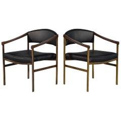 Pair of Vintage Midcentury Walnut Leather Lounge Armchairs