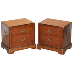 Pair of Vintage Military Campaign Mahogany Lampwine Side Bedside Table Drawers