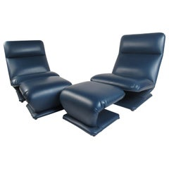Pair of Vintage DIA Lounge Chairs and Ottoman's