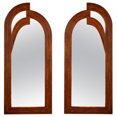 Pair of Vintage Mirrors in Rattan, France, 1980s