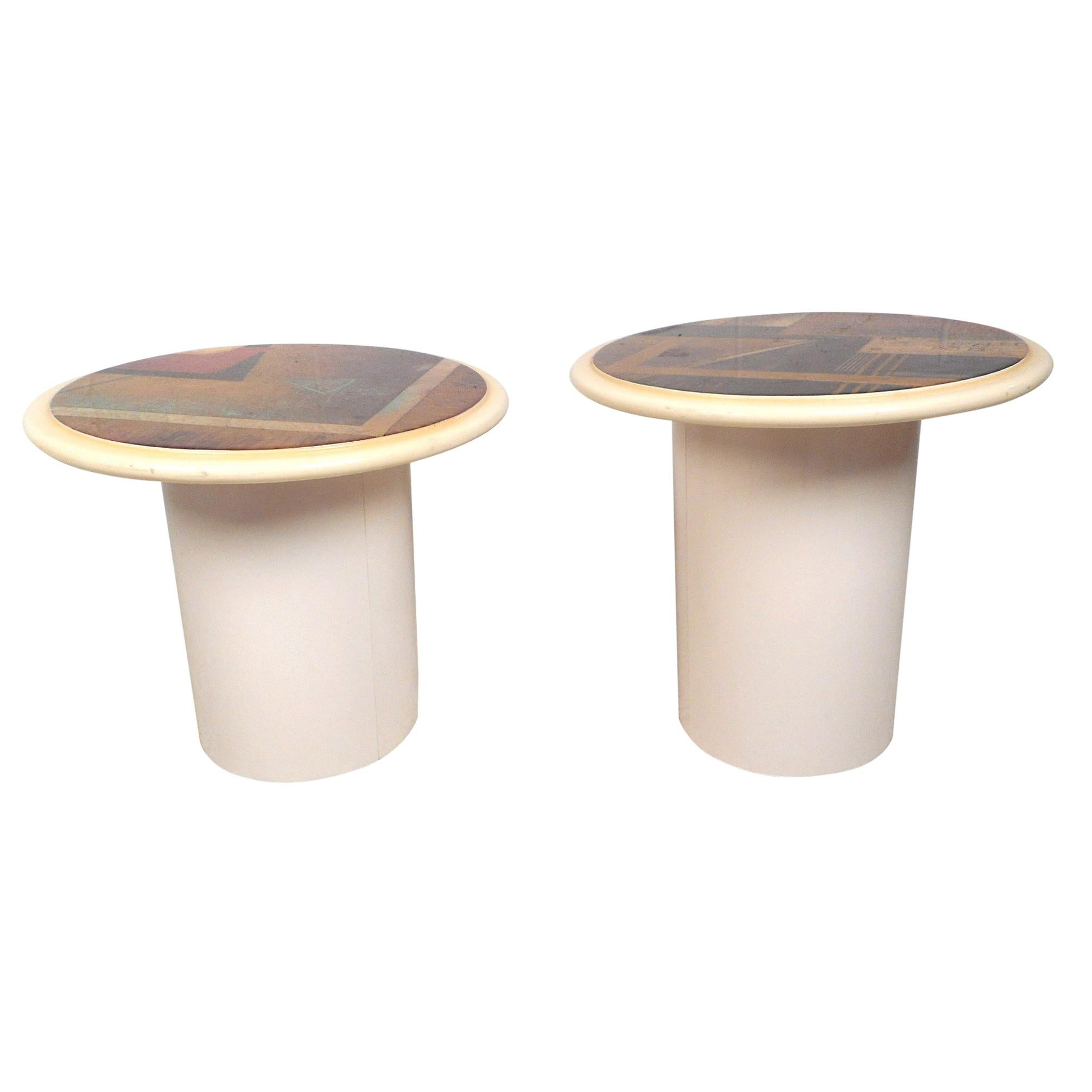 Pair of Vintage Modern Circular End Tables with Illustrated Tops