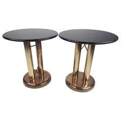 Pair of Vintage Modern Marble and Brass End Tables