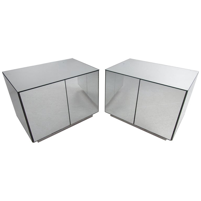 Pair of Vintage Modern Mirrored Cabinets For Sale