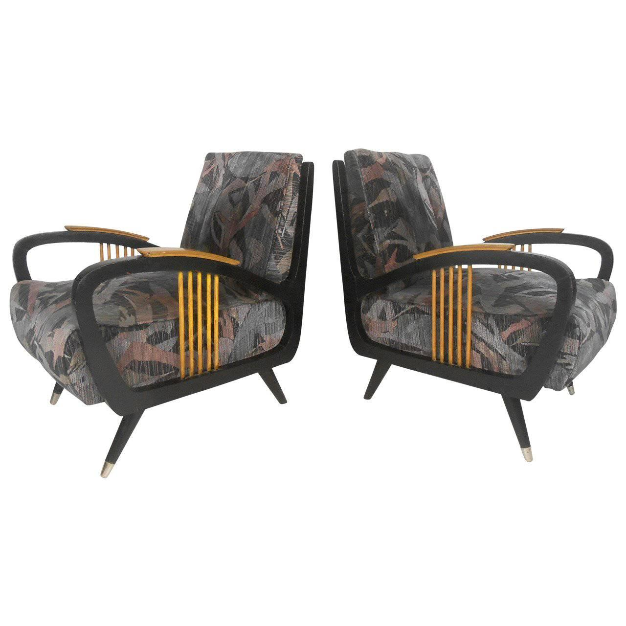 Pair of Vintage Modern Sculptural Lounge Chairs