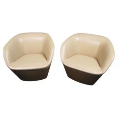 Pair of Vintage Modern Two-Tone Leather Tub Chairs