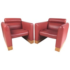 Pair of Vintage Modern Vinyl Lounge Chairs by Charlotte Chair Co.