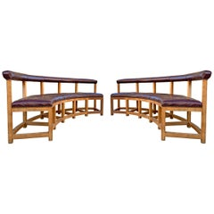 Pair of Vintage Monumental Curved Benches