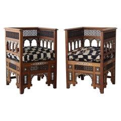 Pair of Vintage Moorish Inlaid Chairs, Morocco, 1950s