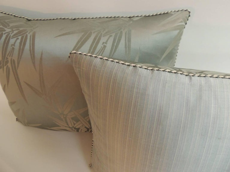 Japonisme Pair of Vintage Moss Green Bamboo Pattern Silk Obi Decorative Pillows For Sale