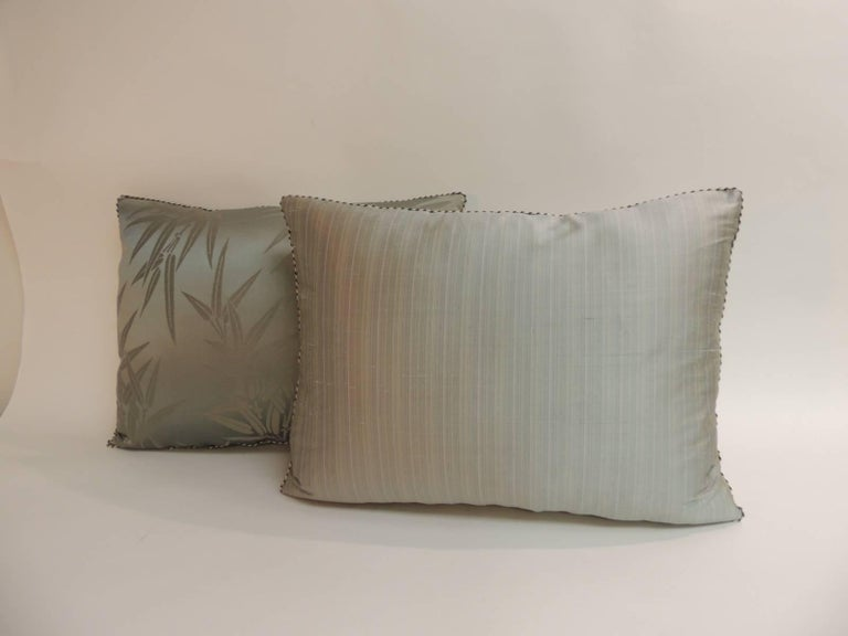 Hand-Crafted Pair of Vintage Moss Green Bamboo Pattern Silk Obi Decorative Pillows For Sale