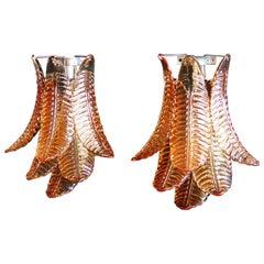 Pair of Vintage Murano Amber Felci Glass Wall Sconces