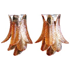 Pair of Vintage Murano Amber Felci Glass Wall Sconces