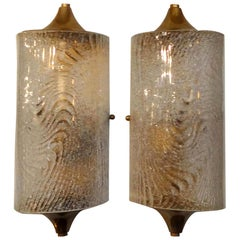 Pair of Vintage Murano Glass and Brass Sconces
