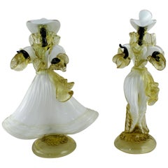 Pair of Vintage Murano Glass Blackamoor Figures