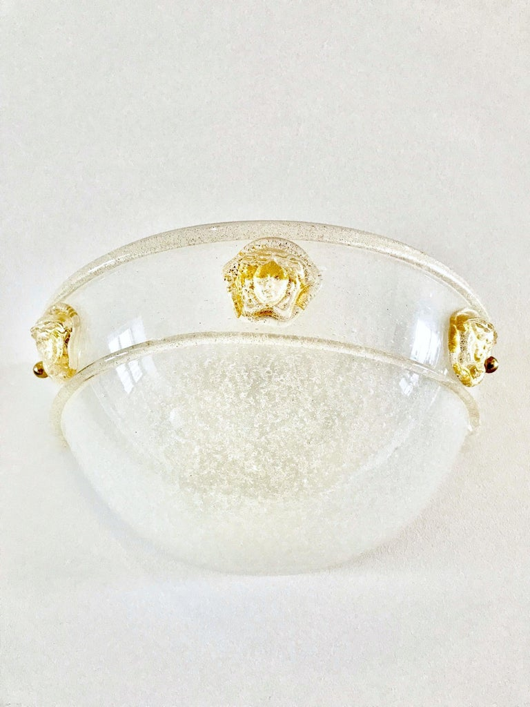 Italian Pair of Vintage Murano Glass Sconces by Seguso for Versace, 1990s For Sale