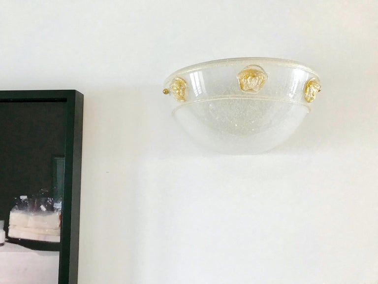 Brass Pair of Vintage Murano Glass Sconces by Seguso for Versace, 1990s For Sale