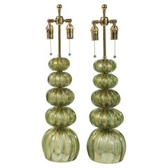 Pair of Vintage Murano Gold/Green Table Lamps by Pauly