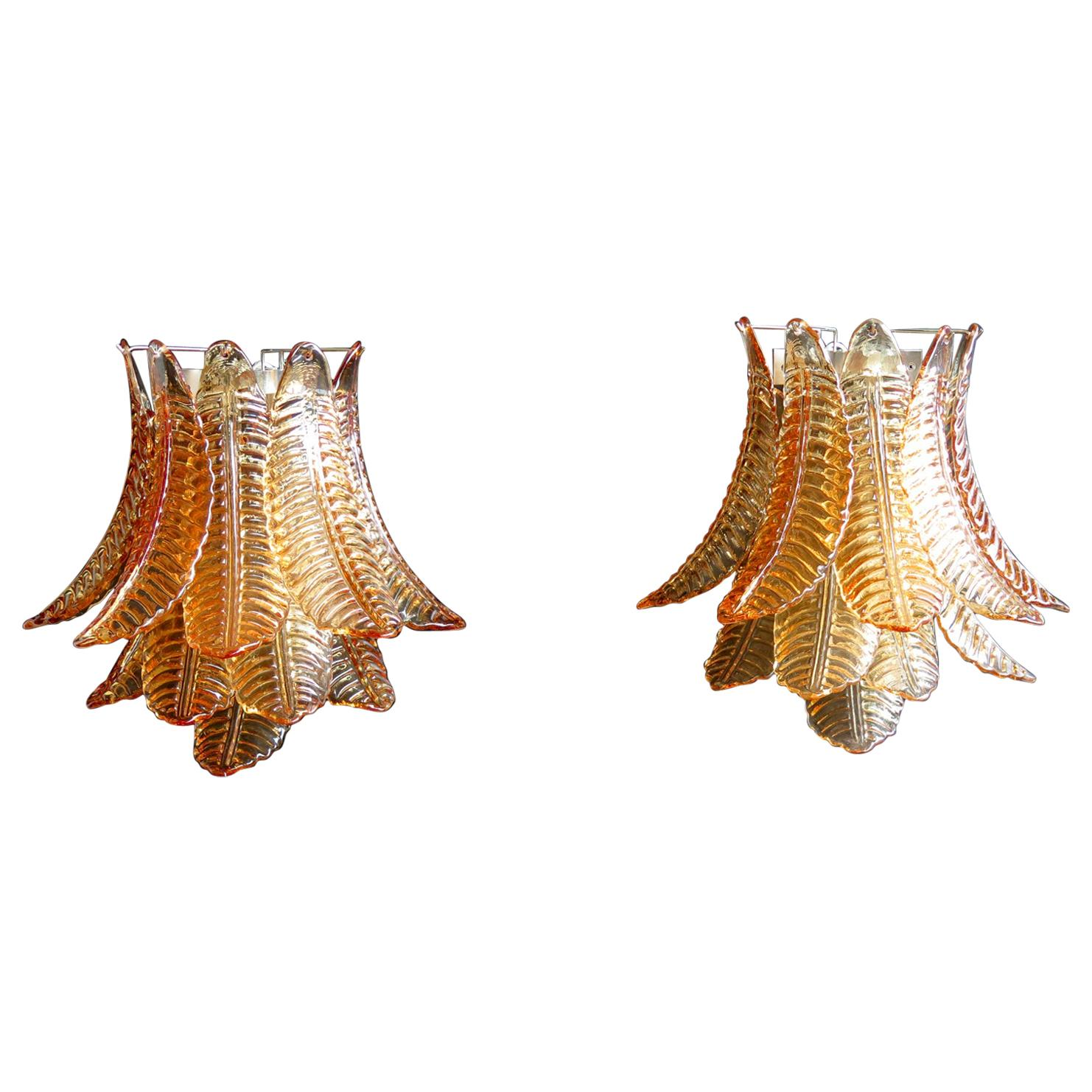 Pair of Vintage Murano Six-Tier Felci Wall Sconce, Amber Glasses