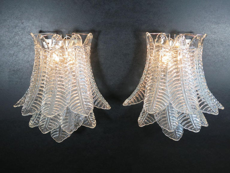 Italian Pair of Vintage Murano Six-Tier Felci Wall Sconce