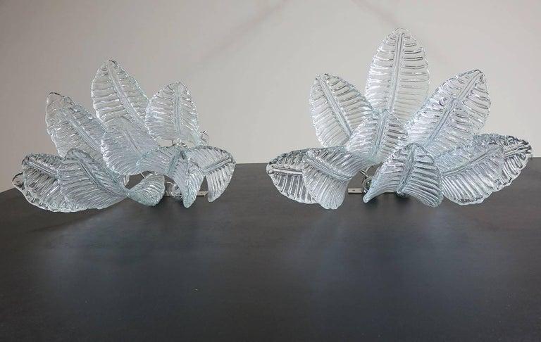 Blown Glass Pair of Vintage Murano Six-Tier Felci Wall Sconce