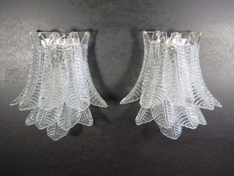 Late 20th Century Pair of Vintage Murano Six-Tier Felci Wall Sconce