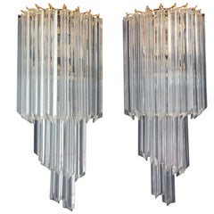 Pair of Vintage Murano Wall Sconce, 16 Quadriedri Trasparent Prism, Golden Fra
