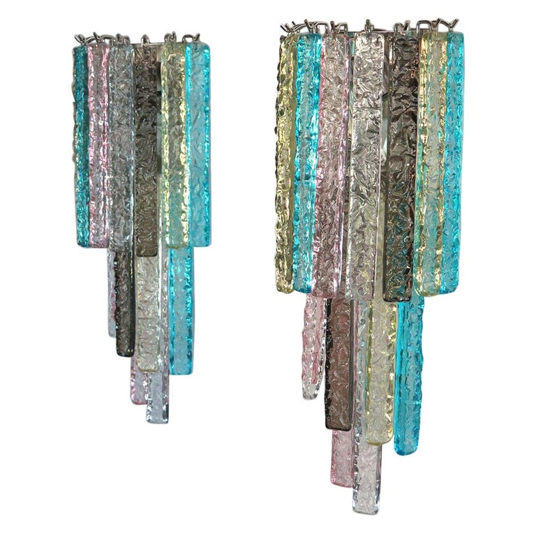 Pair of Vintage Murano Wall Sconce, 32 Multi-Color Prism Icicle For Sale