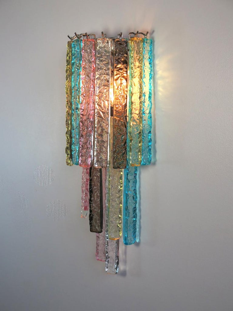 Pair of Vintage Murano Wall Sconce, 32 Multi-Color Prism Icicle For Sale 3