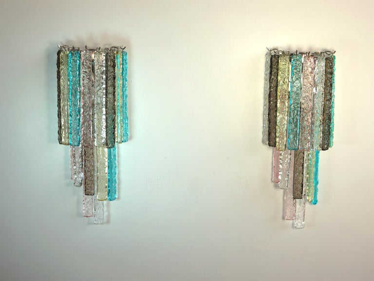 Mid-Century Modern Pair of Vintage Murano Wall Sconce, 32 Multi-Color Prism Icicle For Sale