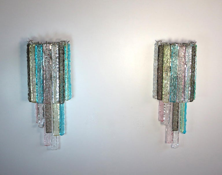 European Pair of Vintage Murano Wall Sconce, 32 Multi-Color Prism Icicle For Sale